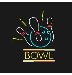 Neon Symbol Bowling Center vector image vector image
