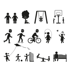 Playground and children black simple icon set vector