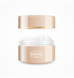 realistic cream can cosmetic product open vector image vector image