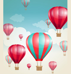 red air balloons and clouds vector image