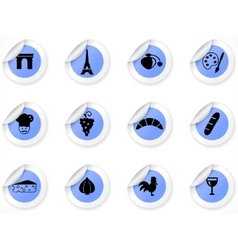 stickers with french culture icons vector image