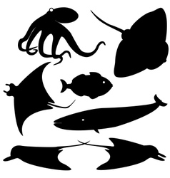 Fish silhouettes set 4 vector image