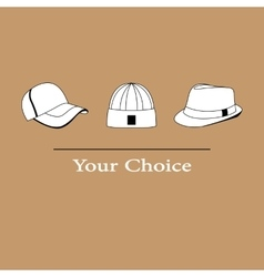 men fashion hats to choose vector image