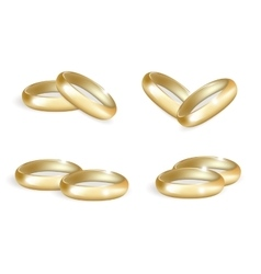 Realistic wedding gold rings set 3d bands vector
