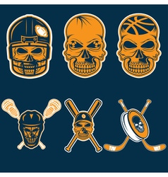 set of sports team labels with skull vector image