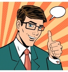 Successful businessman gives thumb up in vintage vector image