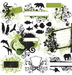 urban wild floral frame elements vector image vector image