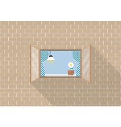 Window frame on brick background vector image vector image