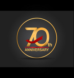 70 anniversary design golden color with ring vector