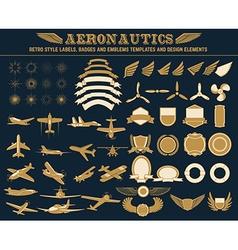 Aeronautics labels templates set vector