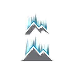 Aurora with peak mountain logo tech vector
