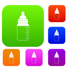 baby milk bottle set color collection vector image