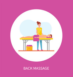 back medical massage session poster circle vector image