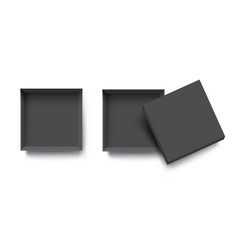 black top view empty open box for mockup design vector image