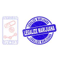 Blue distress legalize marijuana seal and web mesh vector