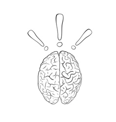 Brain with exclamation mark vector image