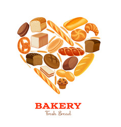 Bread products heart shaped vector