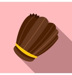 Brown leather baseball glove flat icon vector