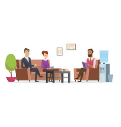 business waiting room people at office lobby vector image