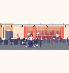 Businesswoman throwing paper sheets angry vector