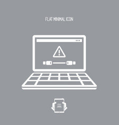 cable connection to pc - alert notice - flat vector image
