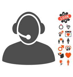 Call center icon with dating bonus vector