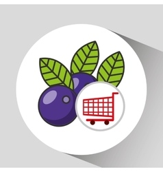 Cart shopping fruit plum icon graphic vector