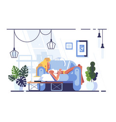 cartoon blonde relaxing with laptop on sofa vector image