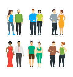 cartoon characters people plus size couples set vector image