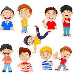 cartoon children with various expressions vector image