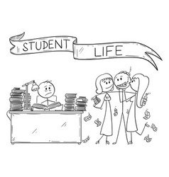 Cartoon of student life one student is learning vector