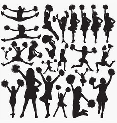 cheerleader silhouettes vector image