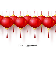 Chinese red paper traditional lantern vector