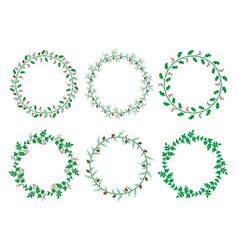 christmas laurel wreaths collection vector image