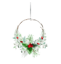 Christmas wreath hanging watercolor with pine vector
