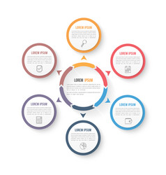 Circle infographic template with six elements vector