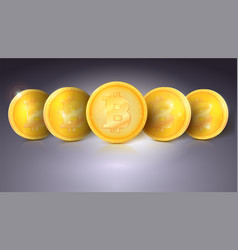 Coins of virtual currency bitcoin with glare and vector