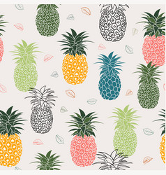 Colorful pineapple with leaves seamless pattern vector