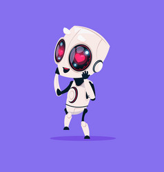 Cute robot with heart shape eyes isolated icon on vector