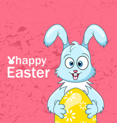 cute smiling rabbit with egg for happy easter vector image