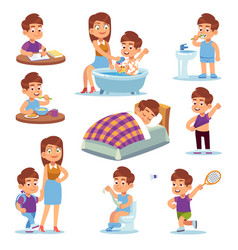 daily mother happy children play with mom and vector image