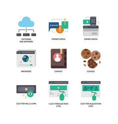 digital marketing icons set 1 vector image