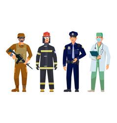 Doctor policeman fireman military guard men vector