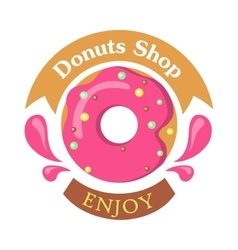 Donut Shop Logo Icon Enjoy Tasty Glazing vector