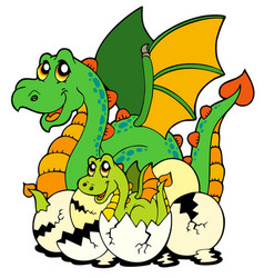 Dragon mom with baby and eggs vector