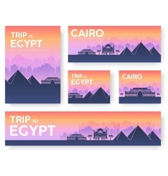 Egypt landscape banners set design vector image
