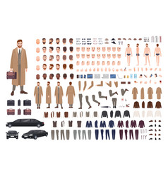 Elegant bearded man in coat animation set or diy vector