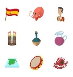 European Spain icons set cartoon style vector image