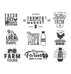 Farmer s market organic food milk and eggs vector