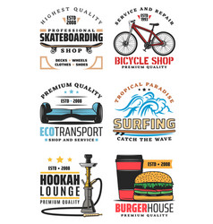 Fast food and leisure sport icons vector